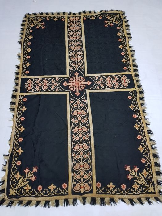 A handmade and embroidered wool (table) cover, France, late 19th century
