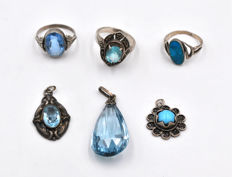 3x antique rings / 3x pendant with blue stones set in silver