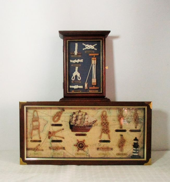 Wooden Key Cabinet With Fishermanu0027s Knots Diorama, And Maritime Diorama  With Wood Models Inside In
