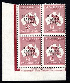 British Commonwealth 1946 - 2/- Kangaroo Block 4 with Occupation Force Japan Overprint