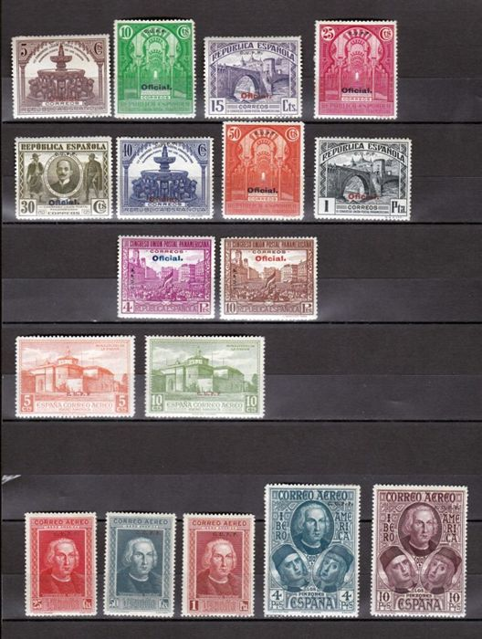 Spain 1930/1931 - Panamerican and Colón. Authorisation C. U.P.P. - Edifil 559H/565H, 620H/629H