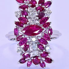 4.88 Ct Ruby and Diamonds ring ***NO RESERVE price!***