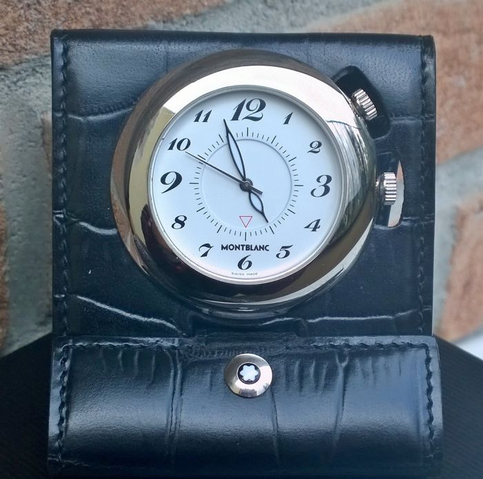 Very fine Swiss-Made Montblanc Travel Pocket Alarm Clock, Pix 7056, in perfect condition