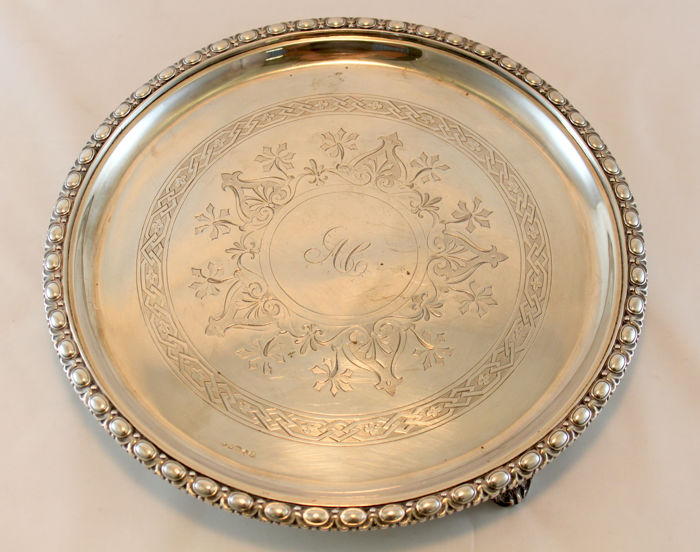 Antique Silver Plate Tray With Initials, By Pune, Sheffield Early 20th Century