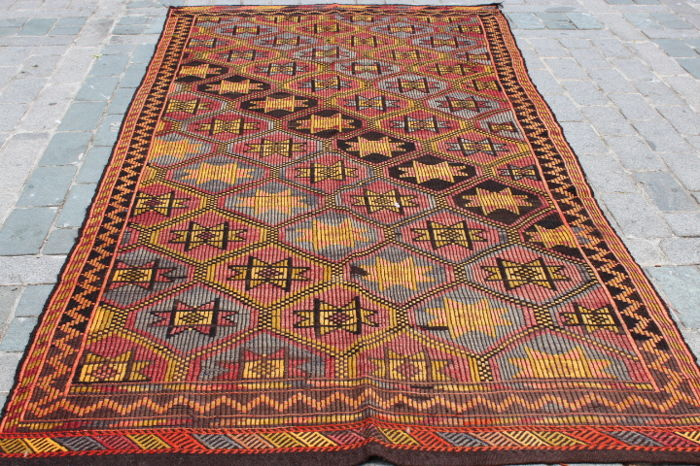 Hand Made Turkish Cicim Kilim, 180 x 360 cm, Around 1950