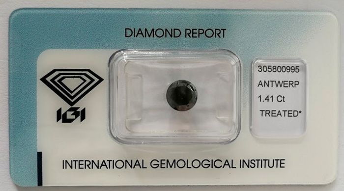 Natural Black Diamond 1.41 CT with IGI certificate***No minimum price***