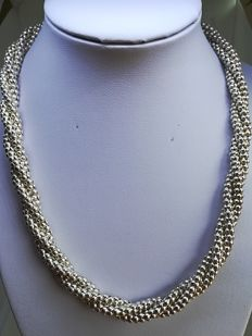 Silver 925/1000 braided balls necklace