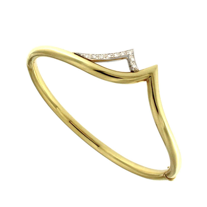 Bracelet in 18 kt yellow and white gold with diamonds, 0.11 ct - 6 cm W x 1.5 cm D x 5 cm L