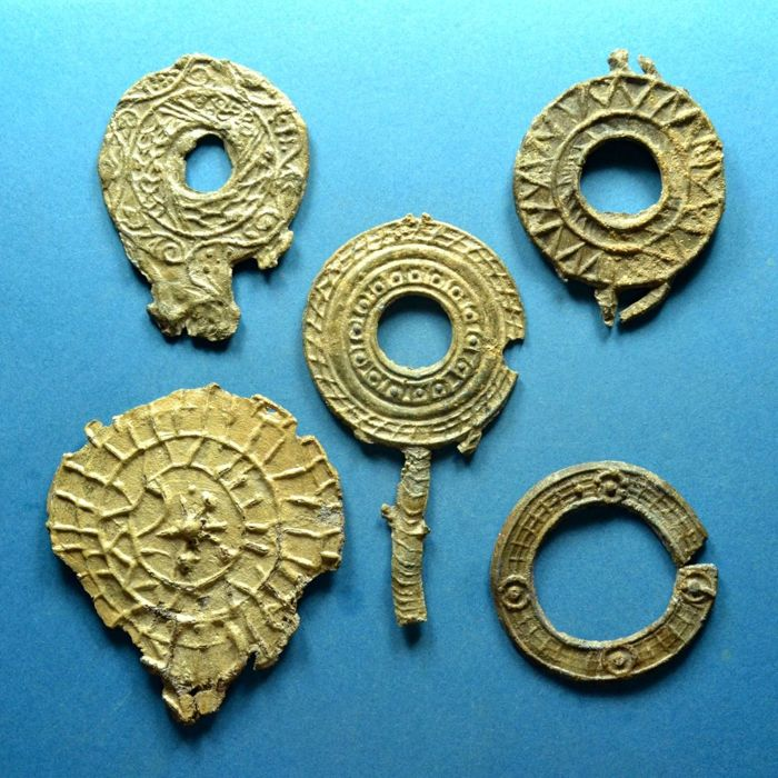 Roman Empire - Lot of 5 Lead Votiv Mirrors with Ornaments