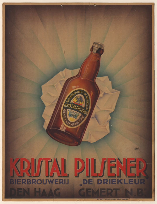 Advertising sign of cardboard - Kristal Pilsener - 1950s