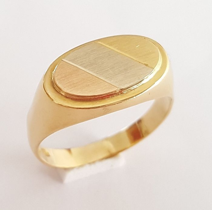 Oval stamp made of tricolour 18 kt gold, smooth and faceted - Size: 19.4 mm 21/61 (EU)