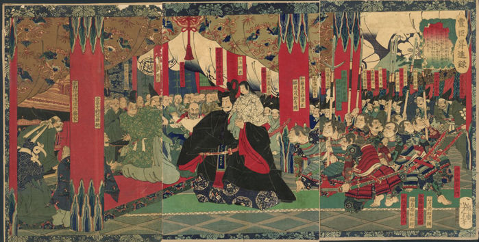 "Original woodblock print triptych by Tsukioka Yoshitoshi (1839–1892) - ""A Record of the Advancement of Toyotomi Hideyoshi"" - Japan - 1868"