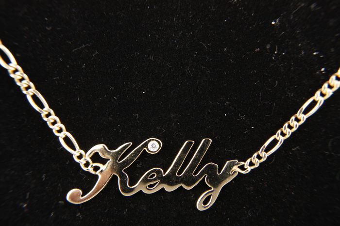 14 kt Gold name necklace - Kelly - with Zirconia - length: 42.00 cm