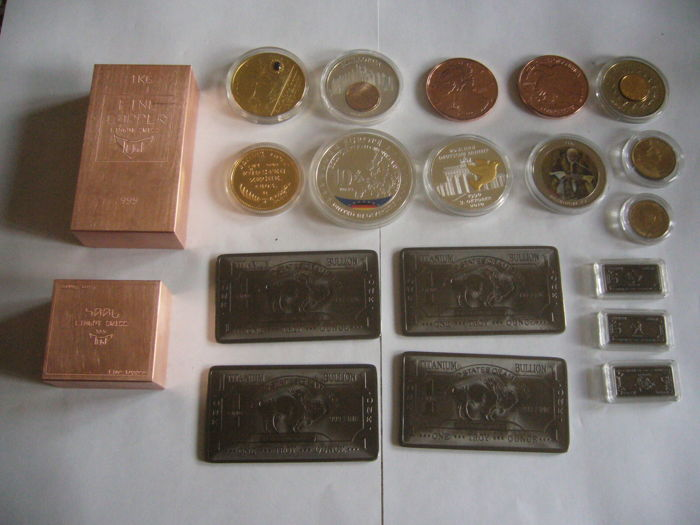 1.5 kilo Swiss copper + 4 bullion titanium 999/1000 + 13 once bullion coin