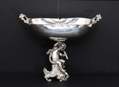 Silver center table with Cupid, in revival Baroque style. Italy, early 20th century