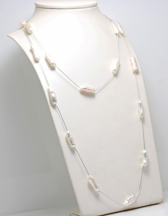 NO RESERVE PRICE - 925 Silver - 7x10mm Freshwater Pearls - Necklace