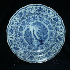 De Porceleyne Byl – Delft Blue faience earthenware plate with a depiction of a pheasant (second half of the 18th century)