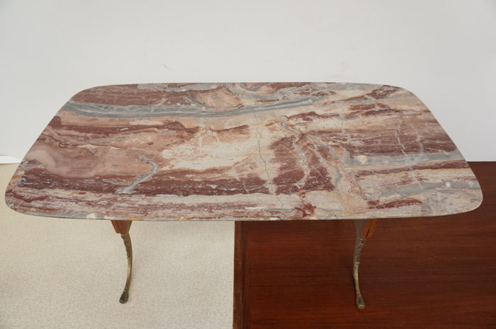 Manufacturer unknown - vintage coffee table with marble top
