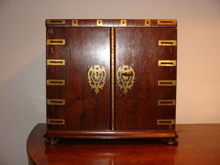 Antique Bar Cabinet For Liquors, Mahogany Wooden Structure With Decorations  And Brass Accents   France Napoleon III   C. 1900