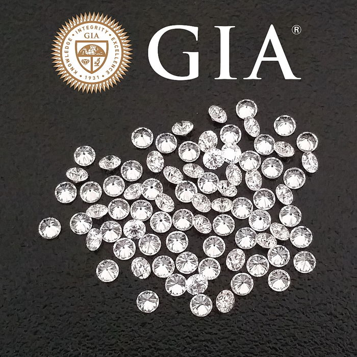 Lot of 79 brilliant cut diamonds, 0.32 ct + 0.25 ct + 0.23 ct + 0.15 + 0.15 ct ct makes a total of 1.10 ct, G-H / VVS-VS GIA