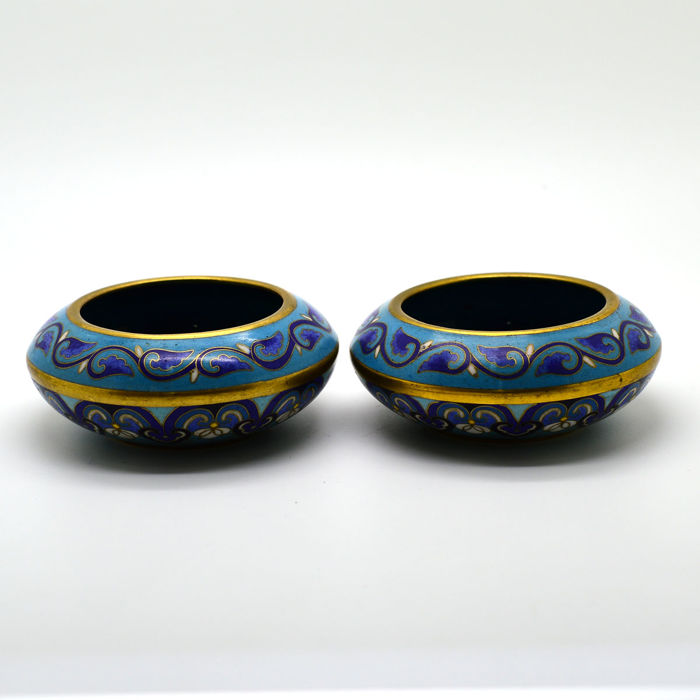 Eight Cloisonn Vases And Bowls In Enameled Copper China Second