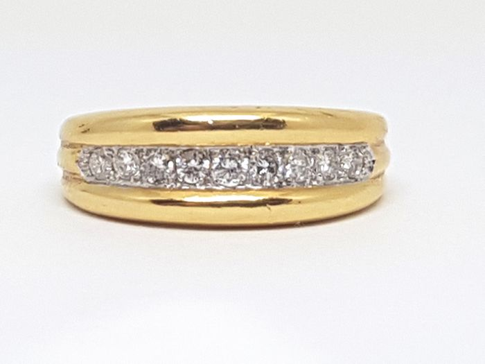 18K Yellow & White Gold Diamond Alliance Ring, total diamond carat: 0,50ct. Ring Size 51 / 16,50mm