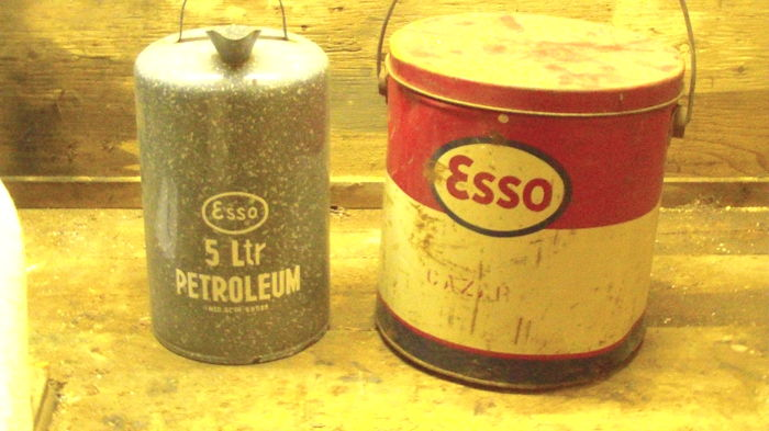 Two ESSO cans
