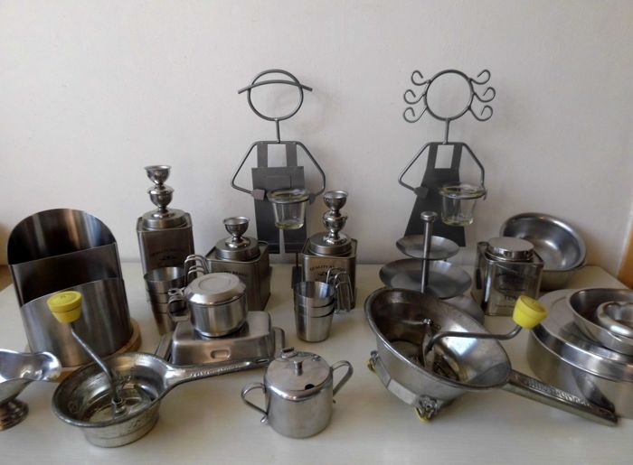 Large Lot Of Used Metal Vintage Kitchen Utensils, Food Mill, Butter Dish,  Quality