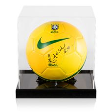 Brazil ball signed by Ronaldinho, in an acrylic box with an Icons certificate