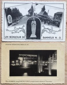 Belgium -  Lot including approx 230 post cards in small format - many circulated by army postal service