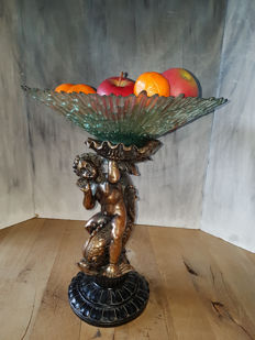 Fruit bowl with an angel and a fish - France - ca. 1950