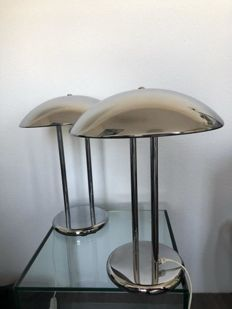 Artist unknown -Two vintage chromed mushroom Art Deco style lamps
