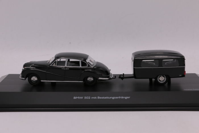 Schuco   Scale 1/43   BMW 502 With Trailer   Colour: Black