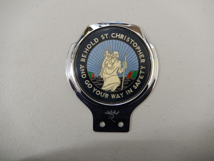 "Vintage St Christopher Renamel 70's 80's Chrome Car Badge in Good Condition 4.25"" x 3.75"" approx"