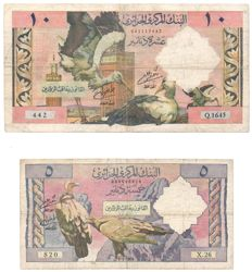 Algeria - Lot of 5 banknotes from 1944 to 1970