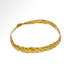 Greek Gold Tressed Bracelet, 7 cm inside D / Gold, 16.4 grams