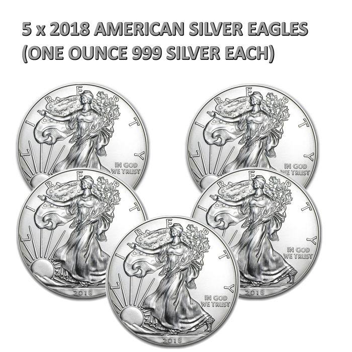 United States - 1 Dollar 2018 'American Eagle' (lot of 5 coins) - 5x 1 oz silver