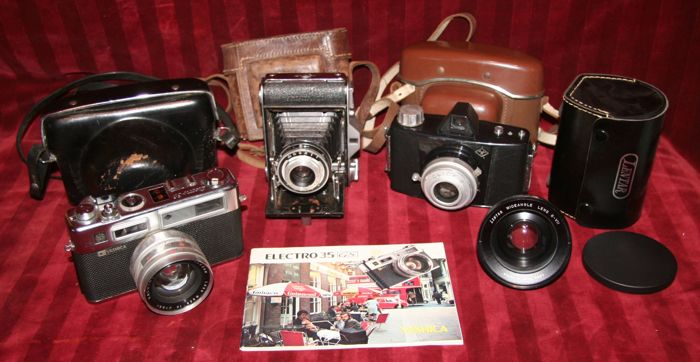 Lot of 3 old cameras: Ensign, Yashica and Agfa