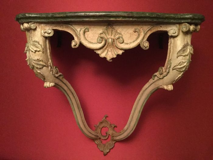 Carved and painted Venetian console table with fake marble top, Venice, mid-18th century, with later modifications
