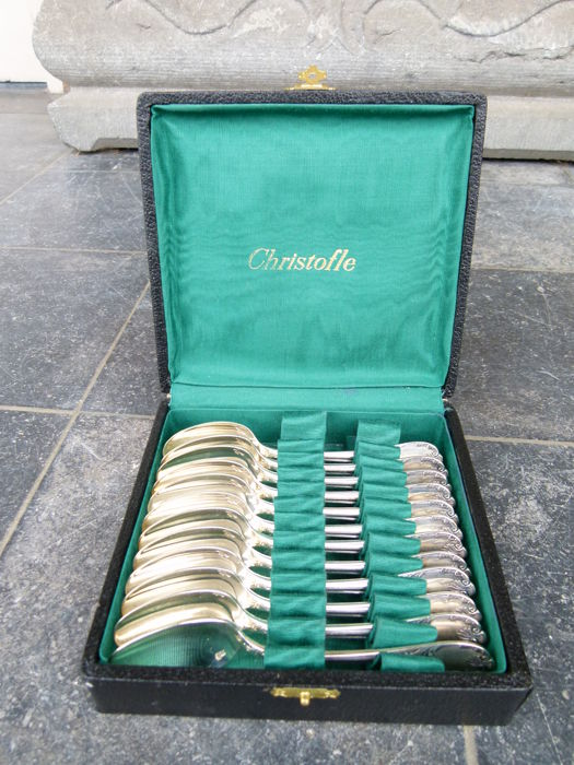 12 silver plated dessert spoons by Christofle