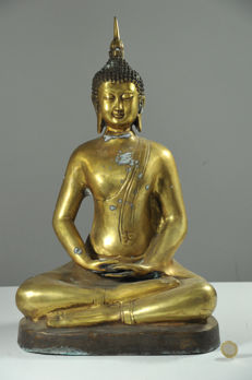 Large bronze Buddha in Meditating Position - China - Late 20th Century (48cm)