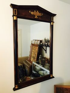 Large mirror in Empire style and tympanum shape and gold-coloured details, France, approx. 1970