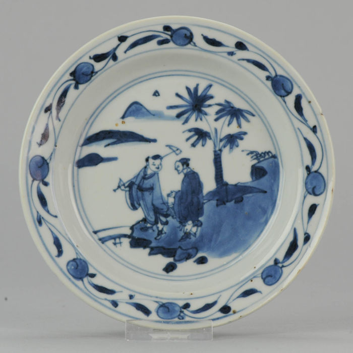 Porcelain Ming or Transitional Dish with Figures, China, 17th century.
