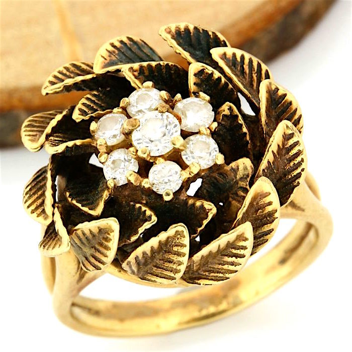 14kt yellow gold, 0.65 ct G-H, SI1-SI2 Diamond, black military finish on the top of leaves ring, size: 6.5