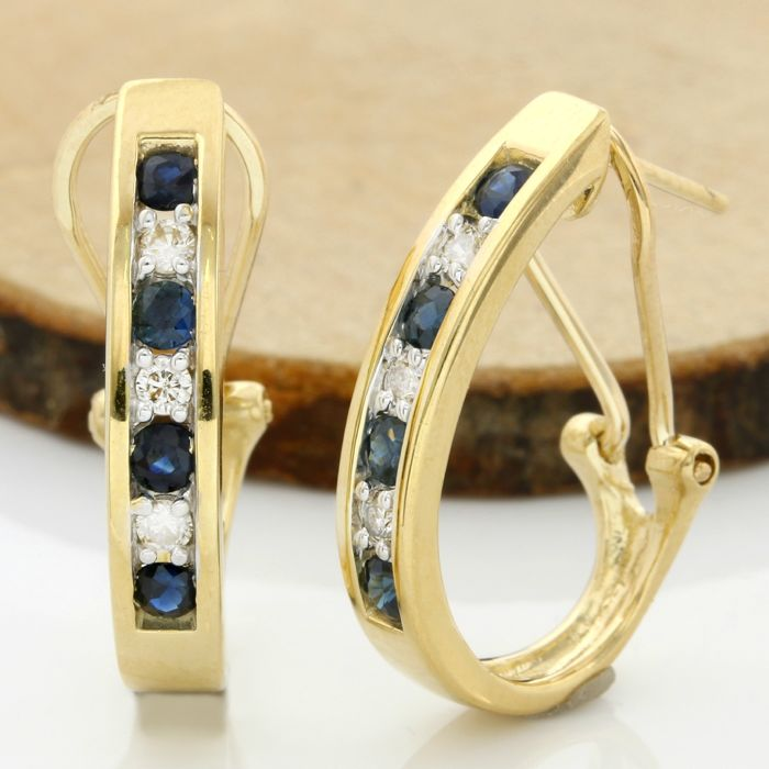14k Yellow Gold Earrings Set with 1.00 ct Sapphire, 0.25 ct H-I, VS2-SI1 Diamond
