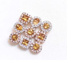 14 karat yellow gold pendant inlaid with diamond, approx. 0.90 ct, and citrine