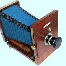 Nice, big, old 13 x 18 wood plate camera (ICA) with rare Aplanat extra rapid lens...