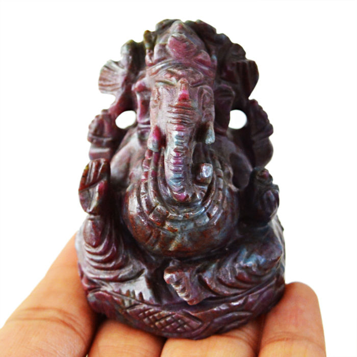 Rare Ruby Zoisite Carved Ganesha Idol - 56x44x34 mm - 840.00 Cts