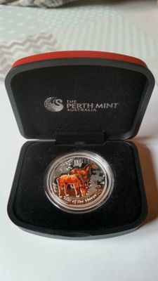 Australia - 1 Dollar 2014 'Year of the Horse' Colour - 1 oz silver