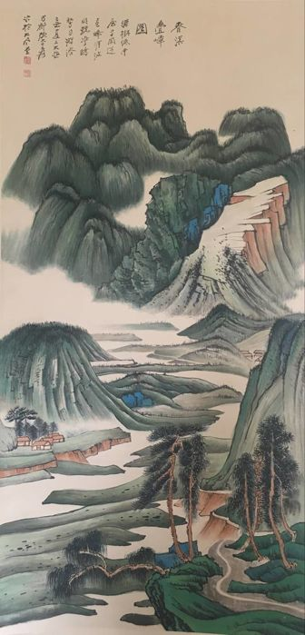 Hand painted large scroll painting, made after《张大千- 春溪叠嶂图》 - China - late 20th century